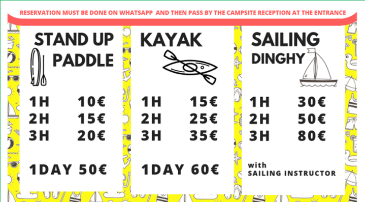 price list, sail, kayak, sup, stand up paddle, lake maggiore